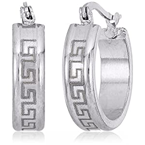 Ladies Stainless Steel Greek Key 20mm Hoop Earrings