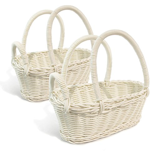Colorbasket 31324-107 Hand Woven Waterproof Wine Bottle Basket, White, Set of 2 Wicker Wine Rack