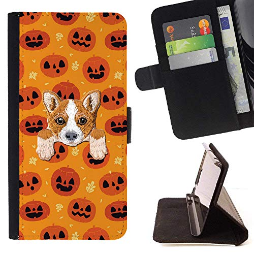 [ Welsh Corgi ] Embroidered Cute Dog Puppy Leather Wallet Case for LG K4 (2017) / LG K8 (2017) / LG Aristo/LG Phoenix 3 / LG Risio 2 / LG Fortune [ Halloween Pumpkins Pattern ] ()