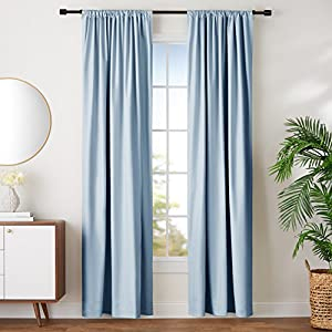 "AmazonBasics Room-Darkening Blackout Curtain Set- 42"" x 96"", Smoke Blue"