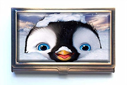 AmSun Lovely Penguin Custom Stainless Steel Bronze Business Card Holder Name Card Credit Card ID Wallet