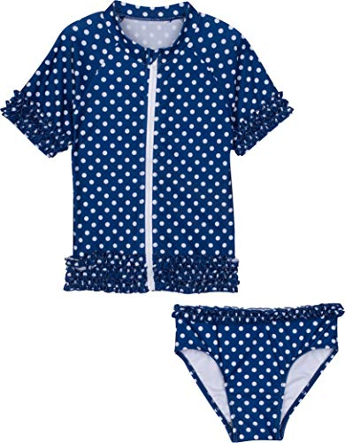 SwimZip Little Girl Sassy Surfer Rash Guard Swimsuit Set Navy Blue ()