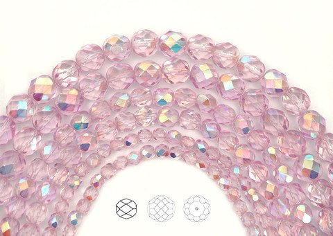 8mm (153pcs) 3 strands, Crystal Pink Shimmer AB coated, Czech Fire Polished Round Faceted Glass Beads, 16 inch strand