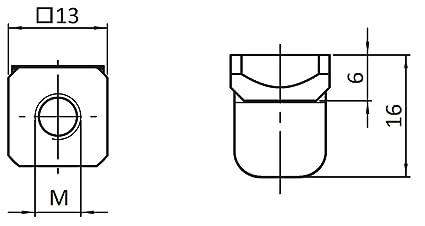 Tuerca deslizante 100 unidades, cuadrada, tipo M//MI - M6, chapa de muelle, acero