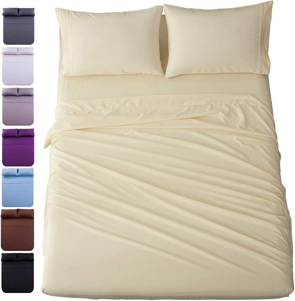 Shilucheng Bed Sheets Set Microfiber 1800 Thread Count Percale Super Soft and Comforterble 16 Inch Deep Pockets Wrinkle Fade and Hypoallergenic - 3 Piece(Twin, Ivory)