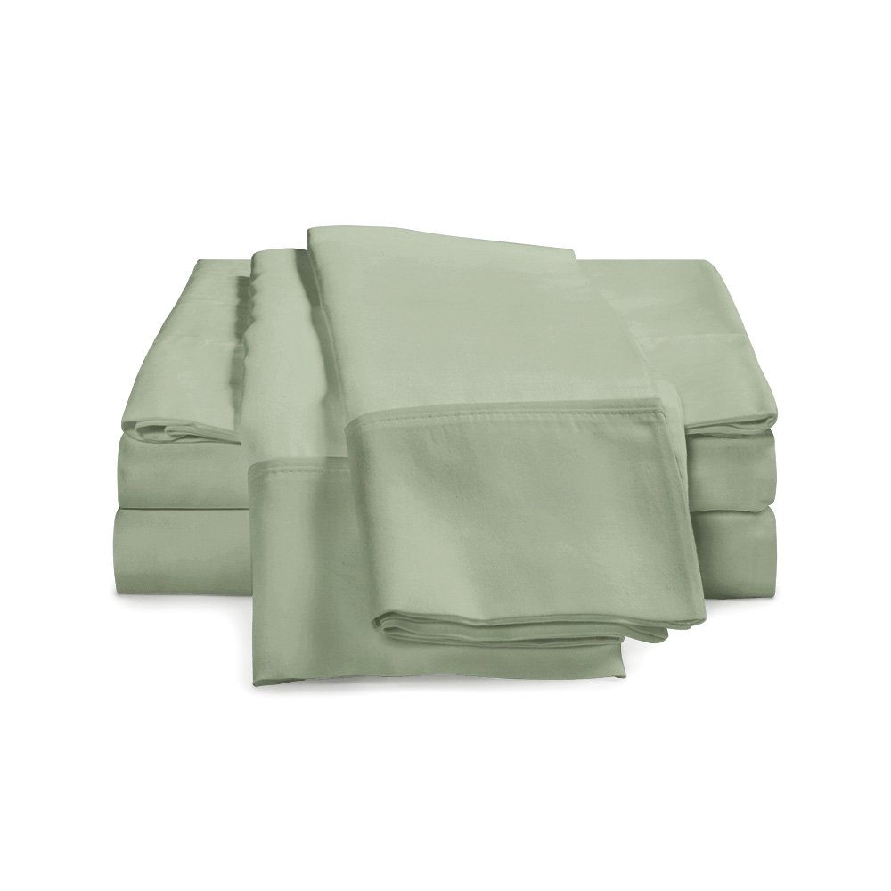 100% Egyptian Cotton Sheet Set - 1000 Thread Count | Hotel Luxury Single Ply - Sateen Weave | Set Includes One Flat Sheet, One Fitted Sheet & Two Pillowcases, California King, Sage