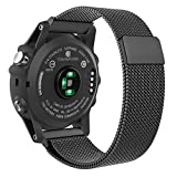 Garmin Fenix 3 / Fenix 5X Watch Band, MoKo Milanese Loop Stainless Steel Mesh Replacement Bracelet Strap for Fenix 3 / Fenix 5X Smart Watch with Unique Magnet Lock, No Buckle Needed, BLACK