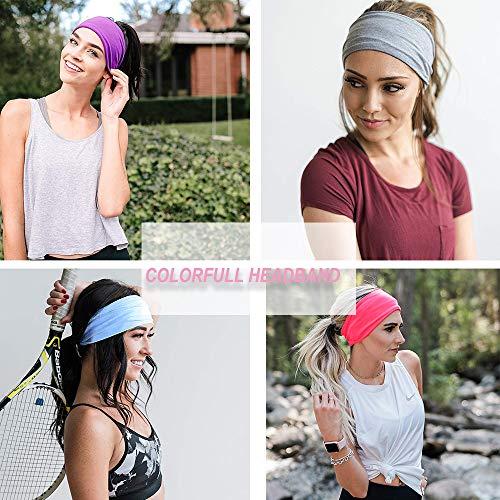 Women's Headbands - Yoga Running Headbands Floal Style Hair Band Sports Workout Sweat Hair Bands Elastic Turban Head Wrap Hair Accessories for Unisex (SET A)