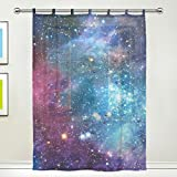 1 Piece Tulle Voile Window Room Decoration Sheer Curtain,Galaxy Space Nebula Star Universe Meteor,Single panel Gauze Curtain Drape Panel Valance 55 x 78 inch