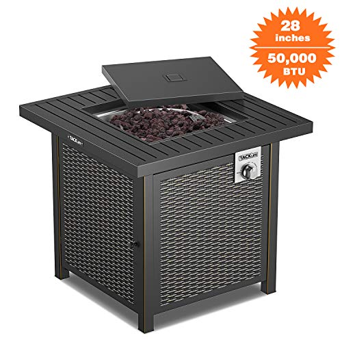 TACKLIFE Propane Fire Pit Table, Outdoor Companion, 28 Inch 50,000 BTU Auto-Ignition Outdoor Gas Fire Pit Table with Cover, CSA Certification, for Garden,Courtyard, Balcony, Terrace and Barbecue. (Fire Automatic Pit)