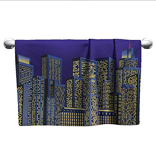 alisoso Digital,Fade-Resistant Towel Cartoon Design Cityscape with Square Seemed Image Kids Room Artwork Print Quick-Dry Towels Dark Blue and Yellow W 24