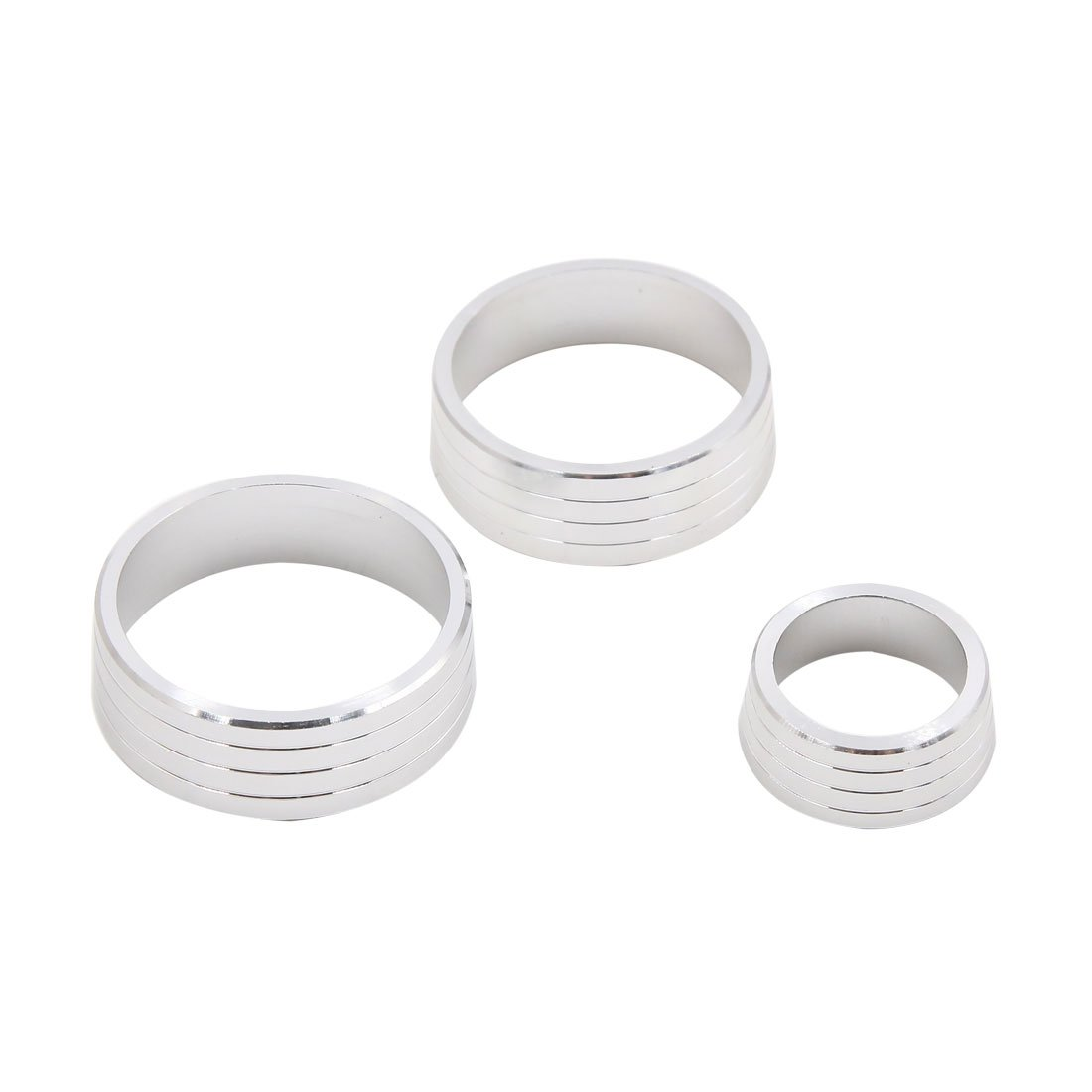 uxcell 3pcs Silver Tone Air Condition Audio Switch Decorative Ring Set for Honda City XRV