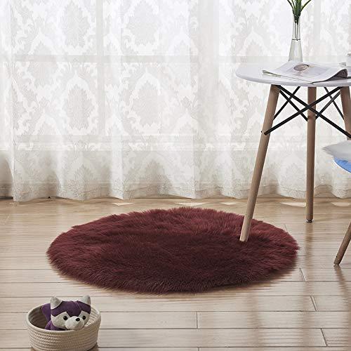 JASONN Faux Fur Rug Soft Fluffy Rug (50 x 50 cm) Shaggy Rugs Faux Sheepskin Rugs Floor Carpet for Bedrooms Living Room Kids Rooms Decor,Burgundy from JASONN