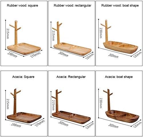 Durable Porte-clés en bois massif, Porte-porche de stockage, en caoutchouc bois carré