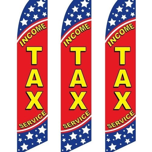 Hot 3 (three) Pack Tall Swooper Flags Income Tax Service Blue White Stars Bold hot sale
