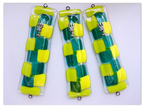 Set Of 3 Mezuzah Mosaic Case Green & yellow 17CM Fused Glass Beautiful Judaica Handmade In ISRAEL Direct From The ()