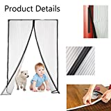 Flyzzz Magnetic Screen Door,Fits Door Up to 36x86 Inches,Polyester Mesh Curtain, Walk through Hands Free and Keep Bugs Out
