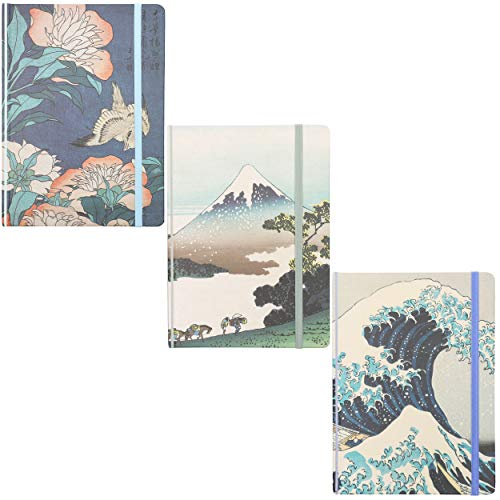Katsushika Hokusai Hard Cover Diary Notebooks, 160 Lined Pages (7 x 5 in, 3 Pack)
