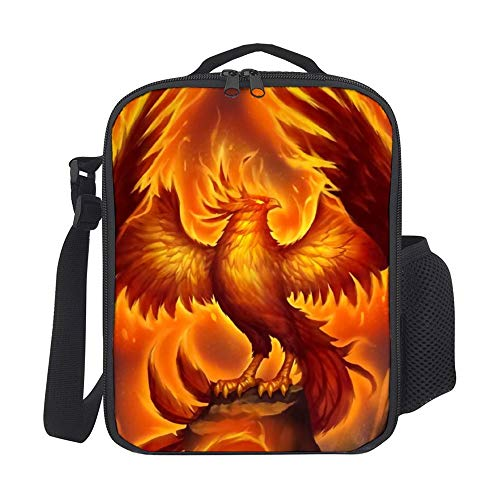 SARA NELL Kids Lunch Box Insulated Phoenix With Fire Lunch Bag Large Lunch Boxes Cooler Meal Prep Lunch Tote With Shoulder Strap For Boys Girls Teens Women Adults