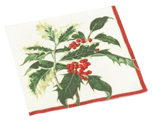 - Entertaining with Caspari Royal Holly Paper Lunch Napkin Package, Ivory