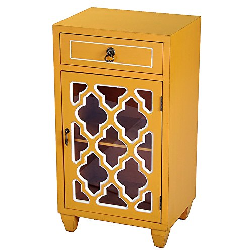 Heather Ann Creations Single Drawer Distressed Decorative Accent Storage Cabinet with Multi Clover Glass Window Inserts, 30'' x 18'', Orange by Heather Ann Creations (Image #4)