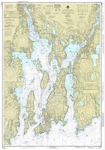 (Historic Map | Narragansett Bay, 1977 Nautical NOAA Chart | Rhode Island, Massachusetts (RI, MA) | Antique Vintage Decor Poster Wall Art Reproduction | 44in x)