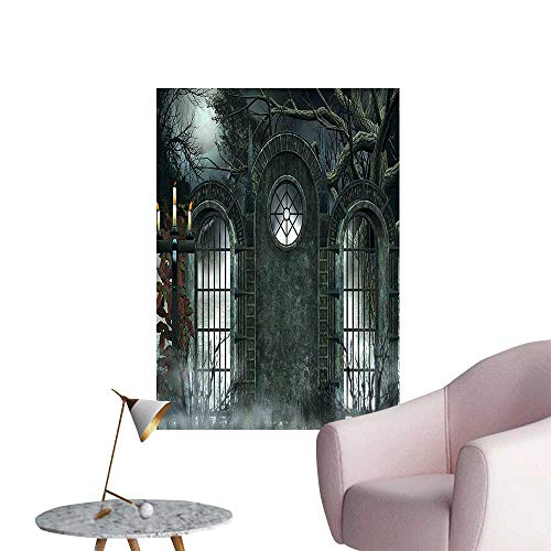Wall Painting Moon Halloween Ancient Historical Gate Gothic Background Candles Fiction View Gray High-Definition Design,28