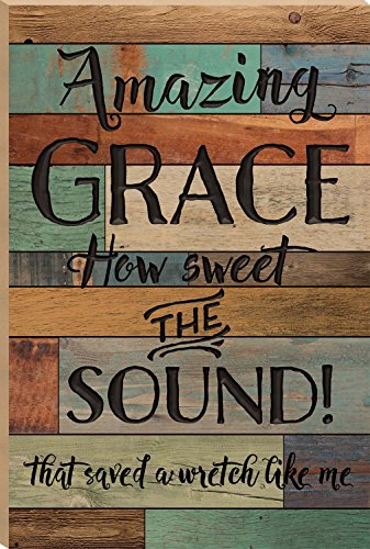 Amazing Grace How Sweet The Sound Multicolor 35.9 x 23.75 Faux Distressed Wood Barn Board Wall Mounted Sign by P Graham Dunn