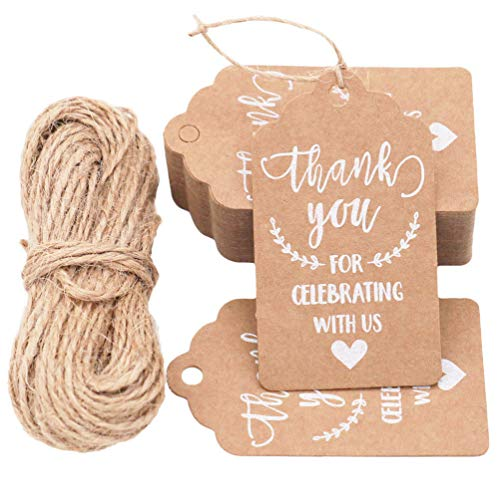 KESTAR 100pcs Kraft Paper Thank You for Celebrating with Us Tags Tags with 20 Meters Jute Twine for Wedding Thanksgaving Christmas Party Arts and Crafts DIY Favor -