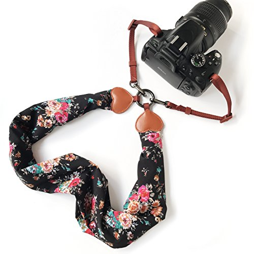 Camera Neck Shoulder Belt Strap,Alled Leather Vintage Print Soft Camera Straps for Women/Men for DSLR/SLR / Nikon/Canon / Sony/Olympus / Samsung/Pentax (Scarf Black+Buckle)