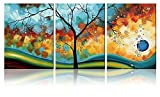 Ode-Rin Art - Modern Abstract Landscape Tree 3 Pieces Wall Art Artwork Blue Framed Giclee Canvas Prints for Living Room Home Decor, Ready to Hang
