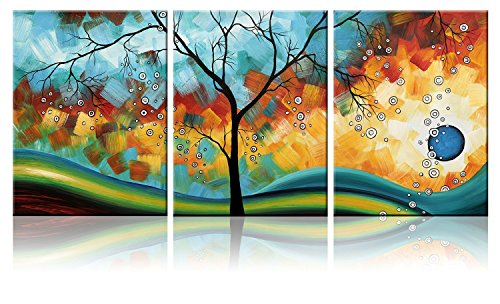 Abstract Set Tree (Ode-Rin Art - Modern Abstract Landscape Tree 3 Pieces Wall Art Artwork Blue Framed Giclee Canvas Prints for Living Room Home Decor, Ready to Hang,3 Set)