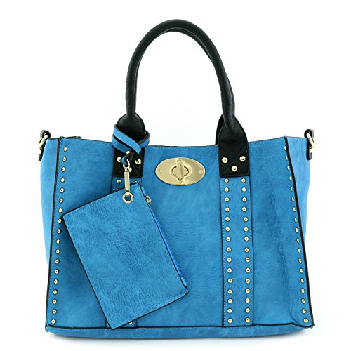 - 3pc Set Studded Turn Lock Tote Bag with Crossbody Turquoise