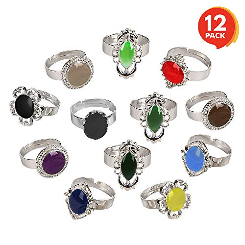 ArtCreativity Color Changing Mood Rings for Girls and Boys (Set of 12) | Adjustable Rings with Color Key Card | Assorted Kids' Toy Jewelry | Cute Birthday Party Favors and Goodie Bag Fillers