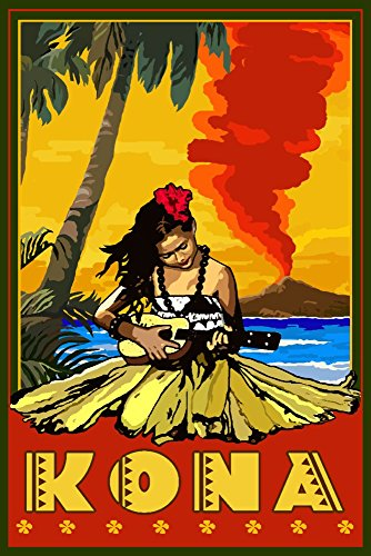 Kona, Hawaii - Hula Girl and Ukulele (24x36 SIGNED Print Master Giclee Print w/ Certificate of Authenticity - Wall Decor Travel Poster) by Lantern Press