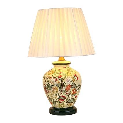 Lámpara De Mesa Decorativa China, Interruptor De Control Remoto Oriental Sala De Estar Dormitorio Lámpara De Mesa De Cerámica