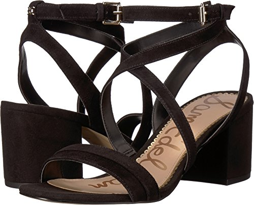 Sam Edelman Women's Sammy Heeled Sandal Black Suede 7.5 M US ()
