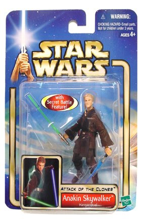 ANAKIN SKYWALKER * HANGAR DUEL * Star Wars Attack of the Clones 2002 Action Figure with Special Battle Feature & Accessories