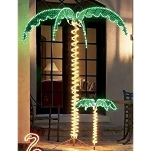 EEZ RV Products Outdoor Lighted Palm Tree - 7' Holographic Rope Light Decoration for Indoor and Outdoor Use 1