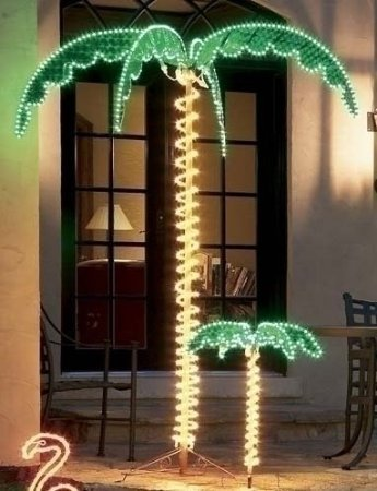 (EEZ RV Products Outdoor Lighted Palm Tree - 7' Holographic Rope Light Decoration for Indoor and Outdoor Use)