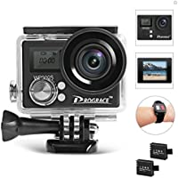 DROGRACE WP300S 4K WiFi Sports Action Camera, Ultra HD 16MP 170 Wide-Angle Lens Waterproof Sport Action Cam DV Camcorder with Remote Control Rechargeable Battery and 35pcs Accessories Bundle Kit