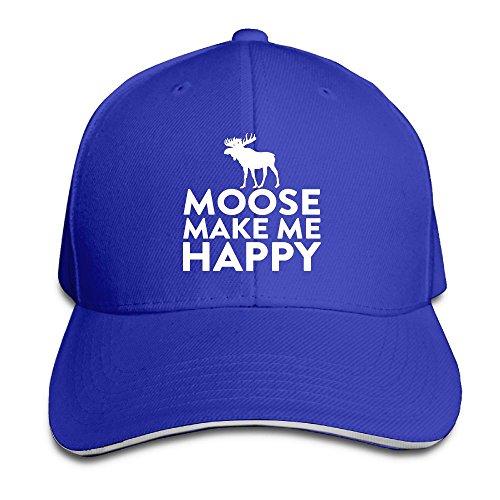 PAWJN Classic Moose Makes Me Happy Baseball Caps Adjustable Sandwich Hats
