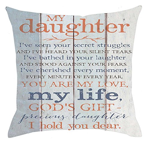 Phrase Pillow - Bnitoam Life Sentiment Phrases My Daughter I Hold You Dear Cotton Linen Throw Pillow Covers Case Cushion Cover Sofa Decorative Square 18 x 18 inch (2)