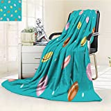 Luminous Microfiber Throw Blanket pattern sweet macaron on white background delicious desserts fresh bakery vecto Glow In The Dark Constellation Blanket, Soft And Durable Polyester(60''x 50'')