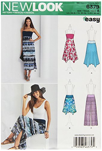 (New Look 6379 Misses' Pants, Skirt and Convertible Maxi Skirt Sewing Kit, Size A (XS-S-M-L-XL))