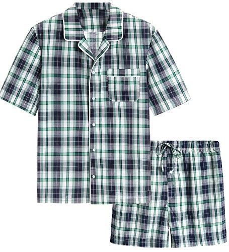 Latuza Men's Cotton Woven Short Sleepwear Pajama Set (XX-Large, Navy & Green)