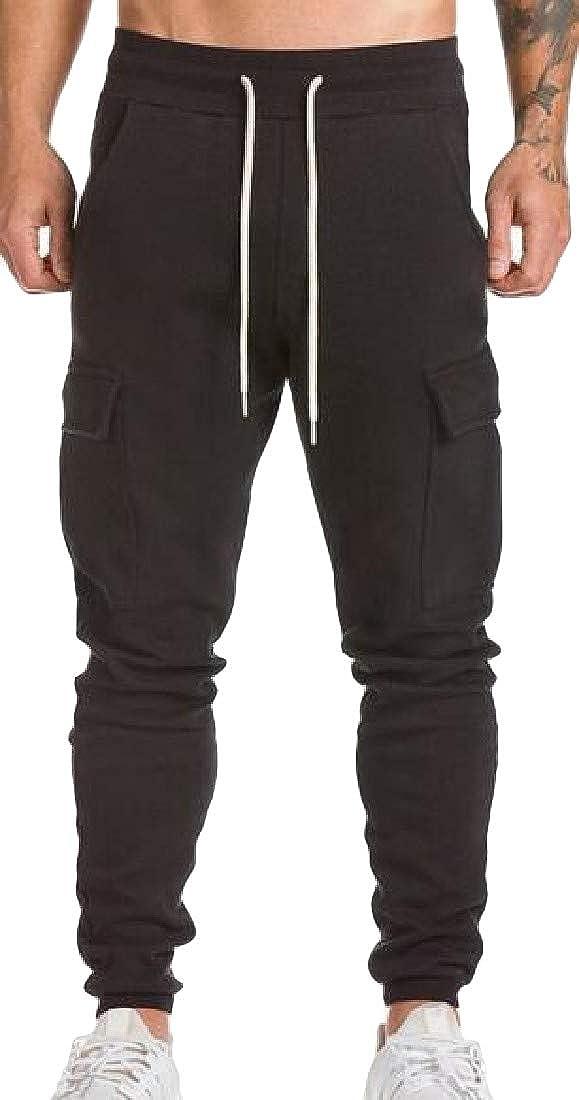 Cromoncent Mens Casual Exercise Sport Elastic Waist Multi-Pockets Jogger Pants