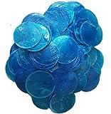 "50 Round Capiz Shell Discs 1.5"" (Two Holes) (Blue)"
