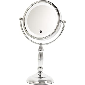 Amazon Com Danielle Led Lighted Two Sided Makeup Mirror With Dimmer 10x Magnification Chrome