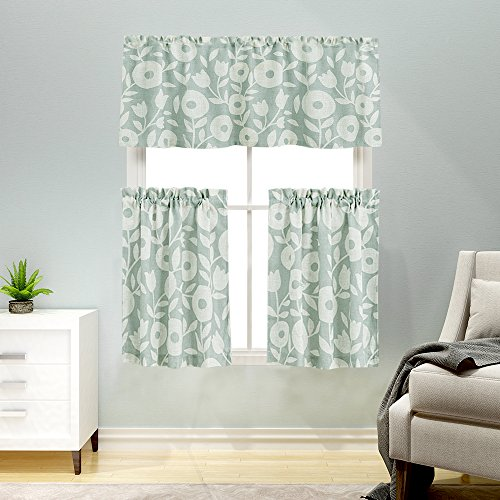 3 Pieces Kitchen Curtains and Valances Set Floral Printed Tier Curtains Linen Textured Vintage Printed Cafe Curtains(36 Inches Long, Sage and White)